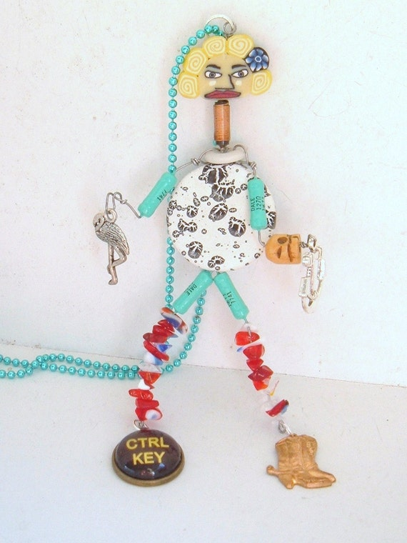 Twisted twin resistor geek recycled necklace control is the key techie OOAK