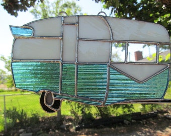 Vintage Trailer, Turquoise Stained Glass Suncatcher, Camper decor, RV accessories, Retro Camper, Camping