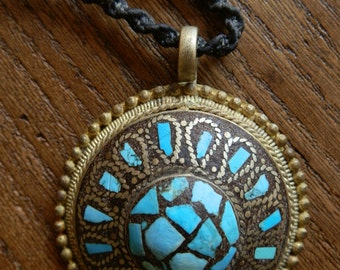 Vintage Turquoise Mosaic and Brass Pendant on a Leather Cord with Wooden Button Clasp