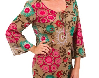 "Kaftan Dress or Beach Cover Up in 100% Cotton Voile - ""Floral Mocha"""
