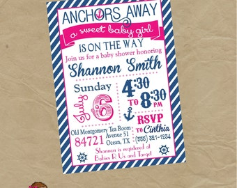 GIRLS Nautical Sailor Baby Shower  Party Invitation - Digital or Printed