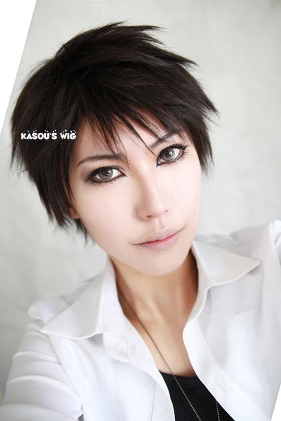 Free ! Iwatobi Swim Club Yamazaki Sosuke . Katekyo Hitman Reborn Takeshi Yamamoto . Xanxus . Hibari short  Black layers spiky Cosplay Wig