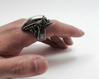 Alien Roar Ring, sterling silver 925