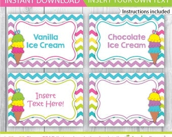 Ice Cream food labels / Ice Cream party table tents / Ice Cream Decoration / Ice Cream Printable / chevron food labels / INSTANT DOWNLOAD