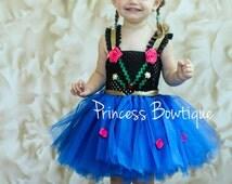 Anna Baby Tutu Dress Little Girl Tutu Dress Tutu and Blue Black Gold Headband Birthday Baby toddler Costume tulle tutu dress
