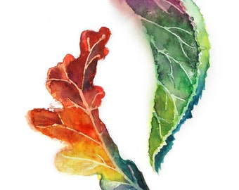 Watercolor Painting Art Print of Leaves, Oak and Linden Leaves, Watercolour Wall Art