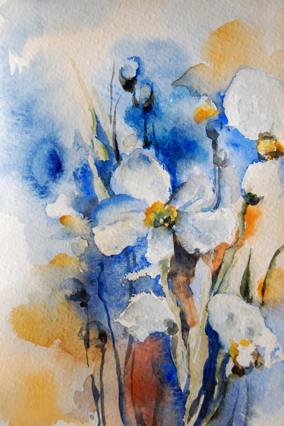 Blue yellow field flower painting art print by canotstopprints for Abstract watercolour flowers