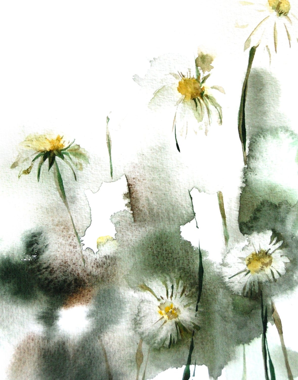 Daisy flowers art print from original watercolor painting for Abstract watercolour flowers