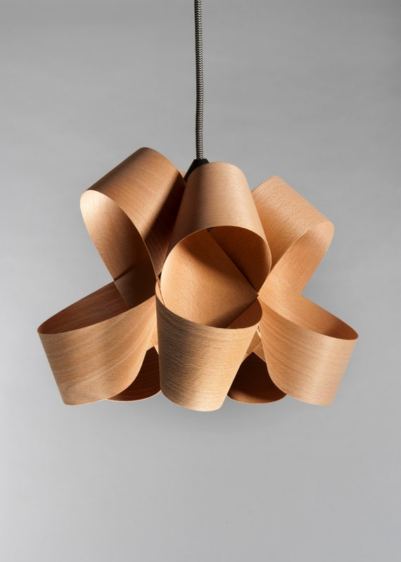 Beautiful Handmade Wood Veneer Lamp Pendent By Ezekielhandmade
