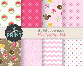Little Cute Pink Fairy Girl Digital Papers. For Personal and Small Commercial Use.