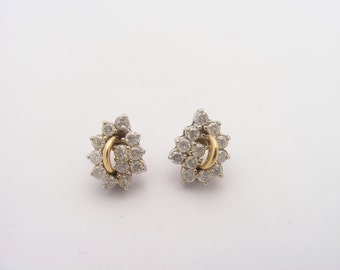 1.00 Carat Total Weight Vintage Diamond Cluster Earrings.14K Yellow Gold