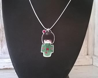 "Geisha Doll handmade pendant on 18"" silver plated snake necklace"