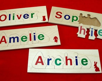 personalized name jigsaw - 6 letters - educational wooden children's toy