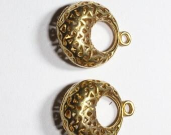 2 Pcs Raw Brass Filigree Earrings (19x15mm) Hoop Earrings- Filigree Leverback earrings