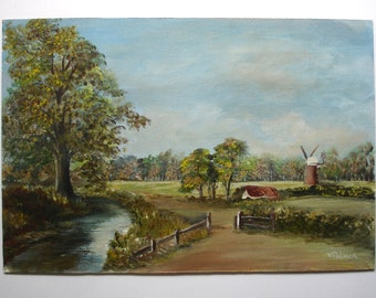 1950s Signed V Plamer Vintage Art OOAK Painting Vintage Oil Painting Vintage Landscape Painting Vintage Painting of Windmill Canvas Board