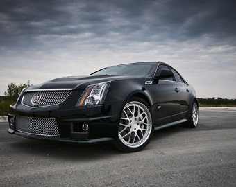 Poster of Cadillac CTSV CTS-V Sedan Left Front Close Black on 360 Forged wheels HD print