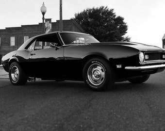 Chevy 68 Camaro Right Front Black and White HD Poster Muscle Car Print