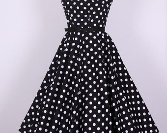1950S Rockabilly Polka Dots Black Long Dress