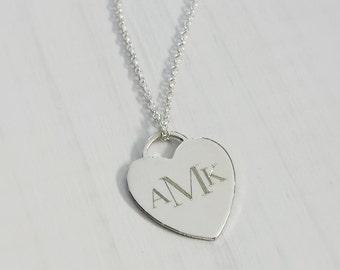 Custom Monogrammed Heart Necklace - Sterling Silver Engraved Heart Necklace - Custom Engraved Necklace