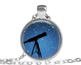 Telescope Necklace, Star Gazing Necklace, Moon and Stars, Shooting Star Necklace, Night Sky Necklace, Telescope Necklace, Star Pendant