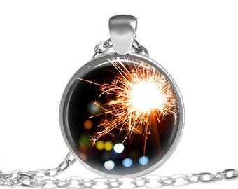 Firework Necklace, Sparklers Fireworks, Fountain Of Stars Cute Necklace, Waiting For A New Year Necklace, Celebrate Life Necklace Pendant