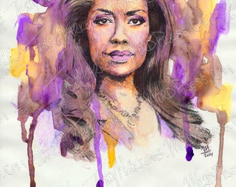 Gina Torres 9x12 in. Watercolor, Ink on Paper, 2014