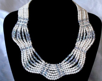 Bridal Jewelry Set White Pearl Necklace Wedding Jewelry Crystal Necklace Pearl Jewelry Statement Necklace Gift Multi Strand Bridal Necklace