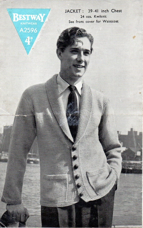 Mens Knitting Pattern 1940s Vintage Mens Cardigan with Shawl