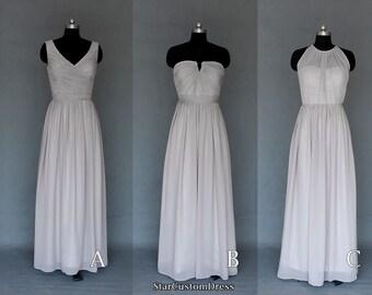 Long Silver/Grey Bridesmaid Dress Long Halter Bridesmaid Dress Long Prom Dress