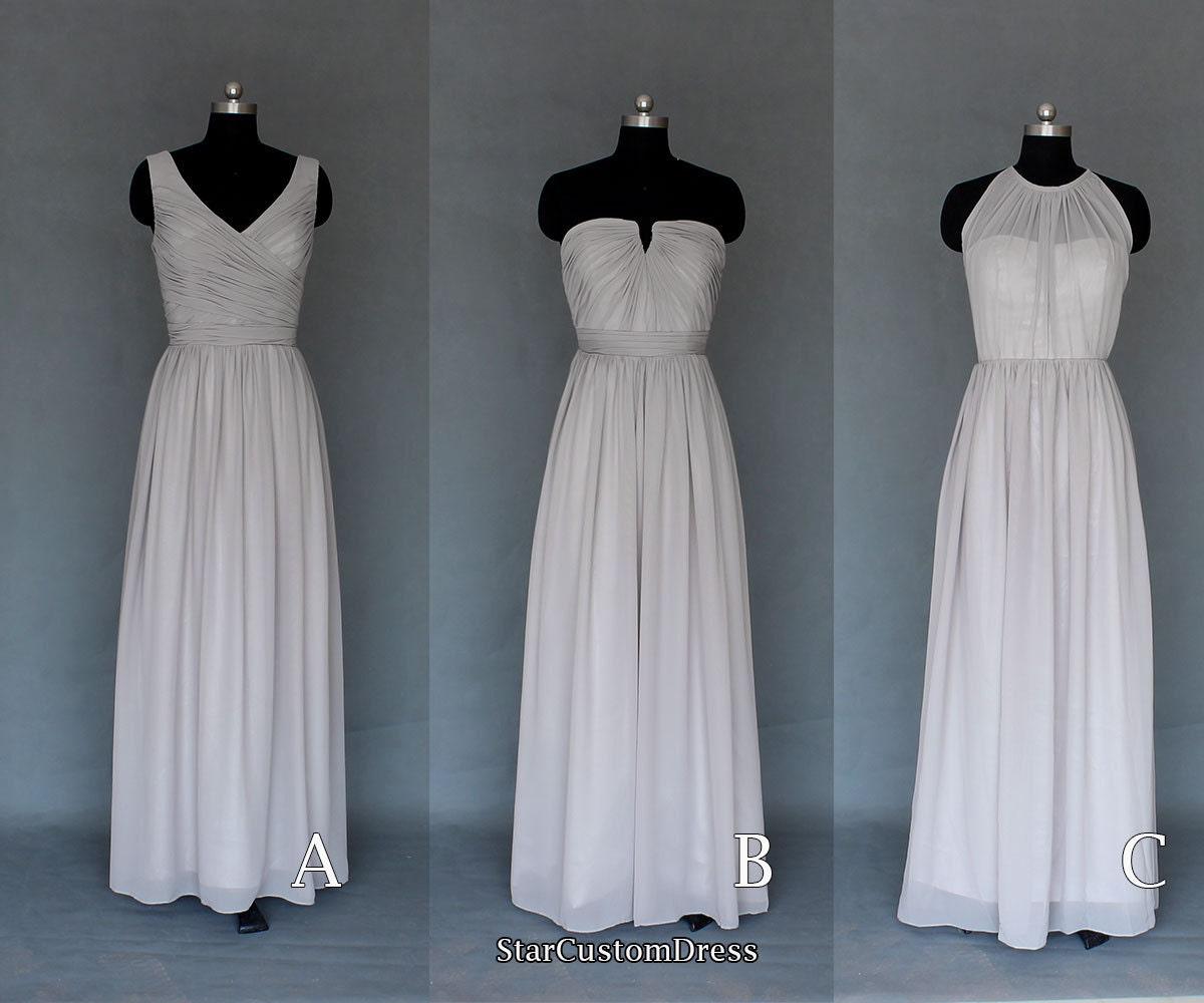Long Silver Grey Bridesmaid Dress Long Chiffon by