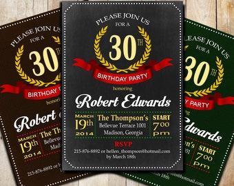 Men Adult Birthday Party Invitation / Digital Printable Invitation / Customized