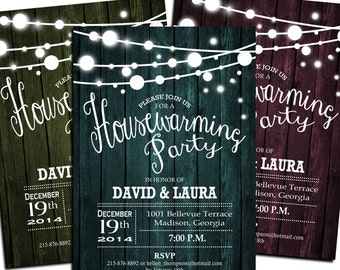 Printable Wood Housewarming Invitation / Digital Invitation / Customized