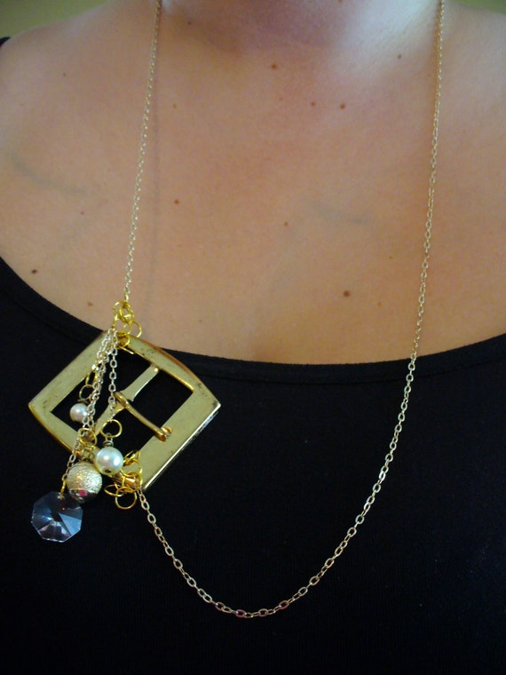 Repurpose Belt Buckle Necjkace, Chandelier Crystal Necklace, Pearl Necklace, Gold Necklace, Affordable, Asymetrical Necklace, One of a Kind