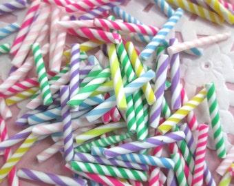 Polymer Clay Candy Straws - Rainbow Mix of Striped Pixie Sticks #238b