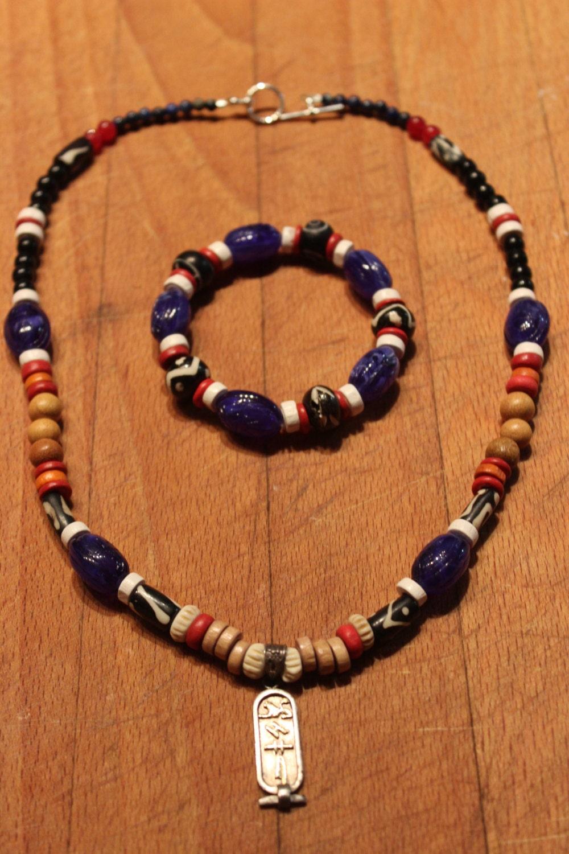 cartouche pendant necklace matching bracelet