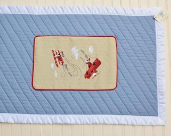 Biplane crib blanket for your little aviator, flannel backed, 100% cotton batting inside, poly/satin blanket binding, washable