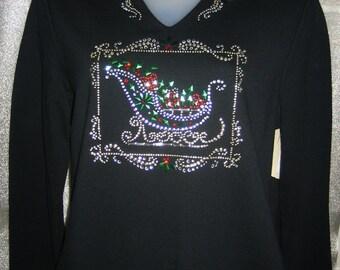 Gorgeous CHRISTMAS Rhinestone BLING Top Shirt - Sleigh Presents Santa's Sled - M or L