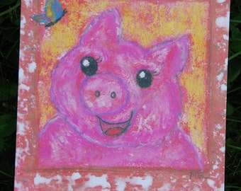 Postcard: good luck pig