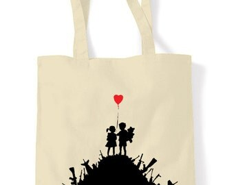 Banksy Kids On Guns Shopping Bag