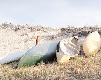 Canoes Resting in the Dunes at Drake's Island
