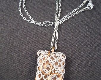 Tatted Pendant.  Copper Dog Tag With Silver Tatting And Copper Wire Wrap And Silver Chain