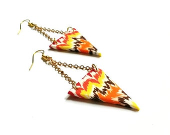 Gold Triangle Earrings ( colorful earrings geometric earrings orange earrings brown earrings triangle jewelry polymer clay chevron earrings)