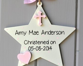Christening details plaque. Personalised baby girl christening gift and Keepsake