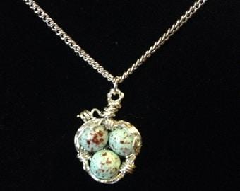 Speckle Birds Nest Necklace