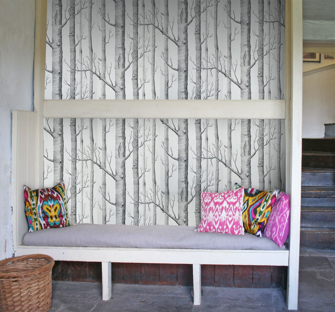 cole and son wallpaper woods black on white one metre by