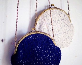 Blue/white Lace Vintage style Metal frame purse/coin purse / handbag /Pouch/clutch/tote bag/ Kiss lock frame bag
