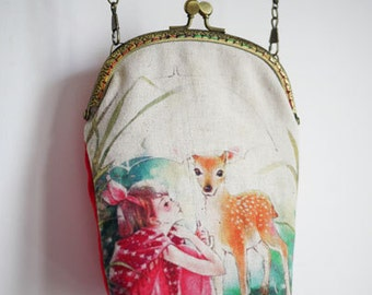 Fawn Vintage style Metal frame purse/coin purse / handbag /Pouch/clutch/tote bag/ Kiss lock frame bag