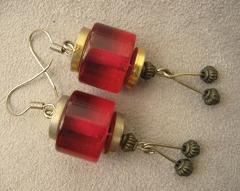 Vintage 80s Unique Earrings, Dangle Eclectic Earrings, Urban Chic Earrings, Red Cylinder Handmade  Earrings