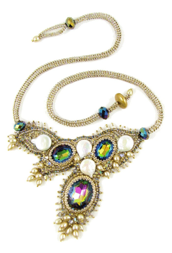 camille bead embroidery necklace instant pattern