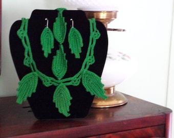 3 Peice Green Crochet Jewlery Set